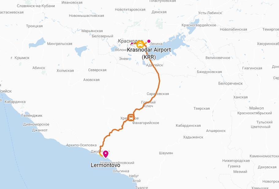 Дорога из аэропорта до Лермонтово